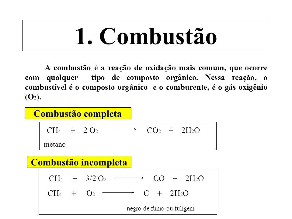 1. Combustão A combustão é a reação de oxidação mais comum, que ocorre com qualquer tipo de composto orgânico. Nessa reação, o combustível é o compost
