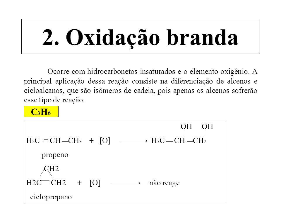 2. Oxidação branda Ocorre com hidrocarbonetos insaturados e o elemento oxigênio. A principal aplicação dessa reação consiste na diferenciação de alcen