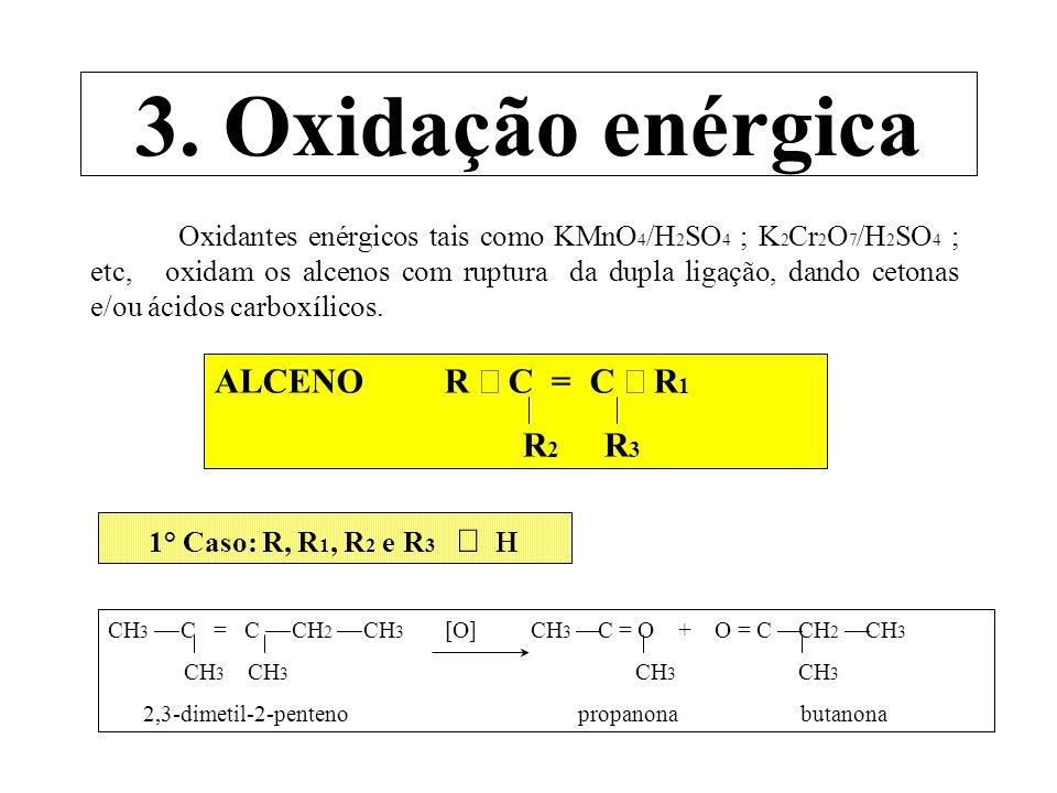 2° Caso: R, R 1 e R 2 H e R 3 = H CH 3 C = C CH 3 [O] CH 3 C = O + O = C CH 3 CH 3 H CH 3 OH 2-metil-2-buteno propanona ácido acético 3° Caso: R e R 1 H e R 2 e R 3 = H CH 3 C = C CH 2 CH 3 [O] CH 3 C = O + O = C CH 2 CH 3 H H OH OH 2-penteno ácido acético ácido propiónico 4°Caso: Alceno com dupla ligação na extremidade CH 3 C = CH 2 [O] CH 3 C = O + CO 2 + H 2 O CH 3 CH 3 isobuteno propanona CH 3 C = CH 2 [O] CH 3 C = O + CO 2 + H 2 O H OH propeno ácido acético