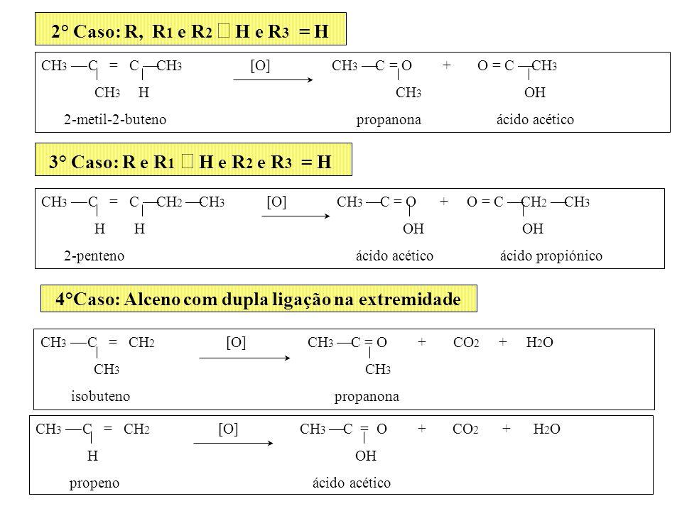 2° Caso: R, R 1 e R 2 H e R 3 = H CH 3 C = C CH 3 [O] CH 3 C = O + O = C CH 3 CH 3 H CH 3 OH 2-metil-2-buteno propanona ácido acético 3° Caso: R e R 1