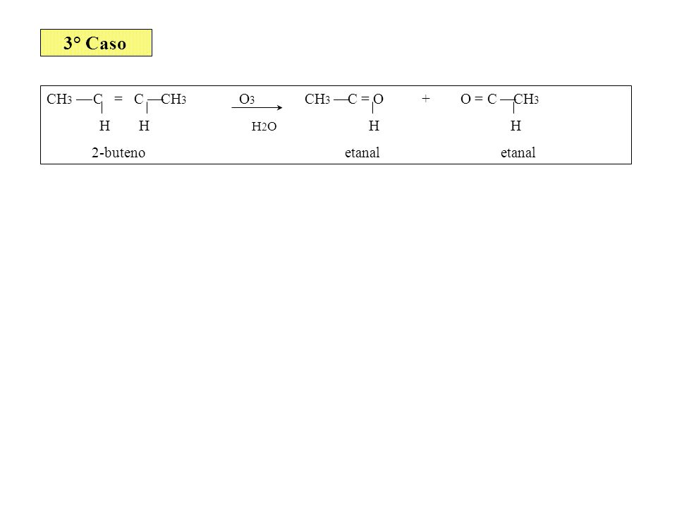 3° Caso CH 3 C = C CH 3 O 3 CH 3 C = O + O = C CH 3 H H H 2 O H H 2-buteno etanal etanal