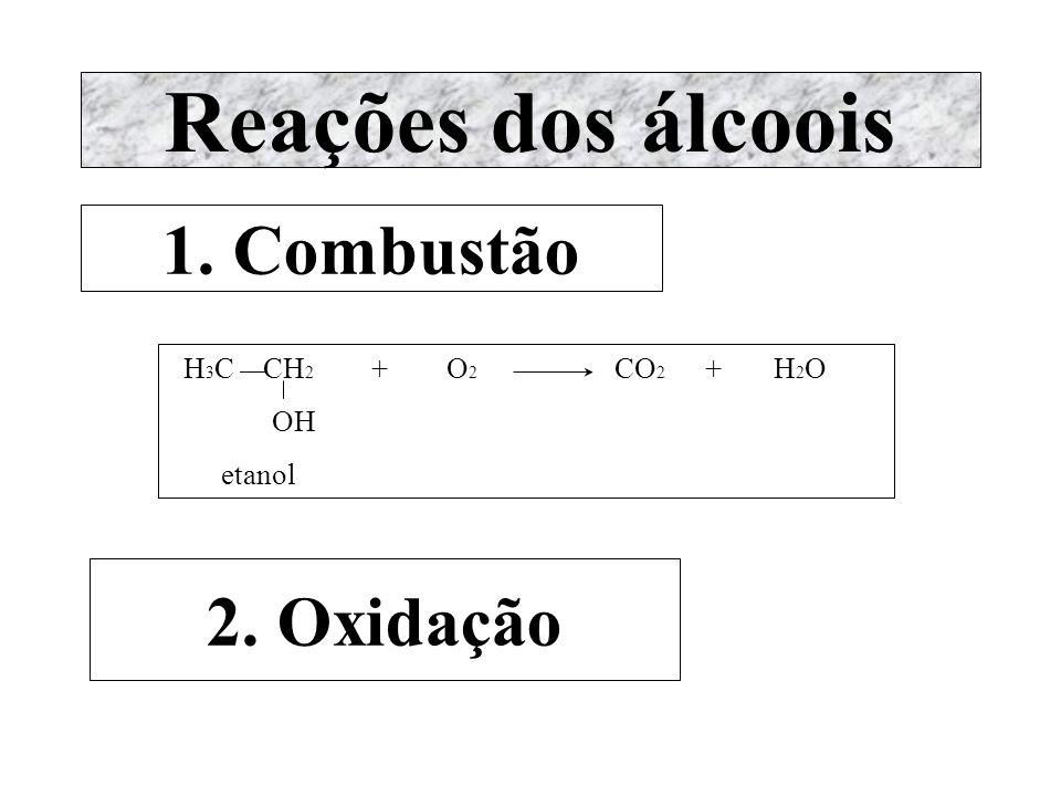 [O] [O] Álcool primário Aldeído Ácido carboxílico parcial total OH [O] [O] H 3 C C H H 3 C C = O H 3 C C = O H H OH etanol ou álcool etílico etanal ou aldeído acético ácido etanóico ou ácido acético