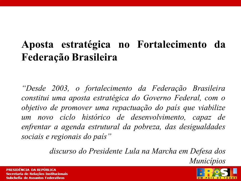 Planejamento Estratégico PRESIDÊNCIA DA REPÚBLICA Secretaria de Relações Institucionais Subchefia de Assuntos Federativos I- O GOVERNO FEDERAL E A FEDERAÇÃO BRASILEIRA Posicionamento do Governo Lula O caráter estratégico da organização federativa do Estado Brasileiro O fortalecimento da Federação como aposta estratégica do Governo
