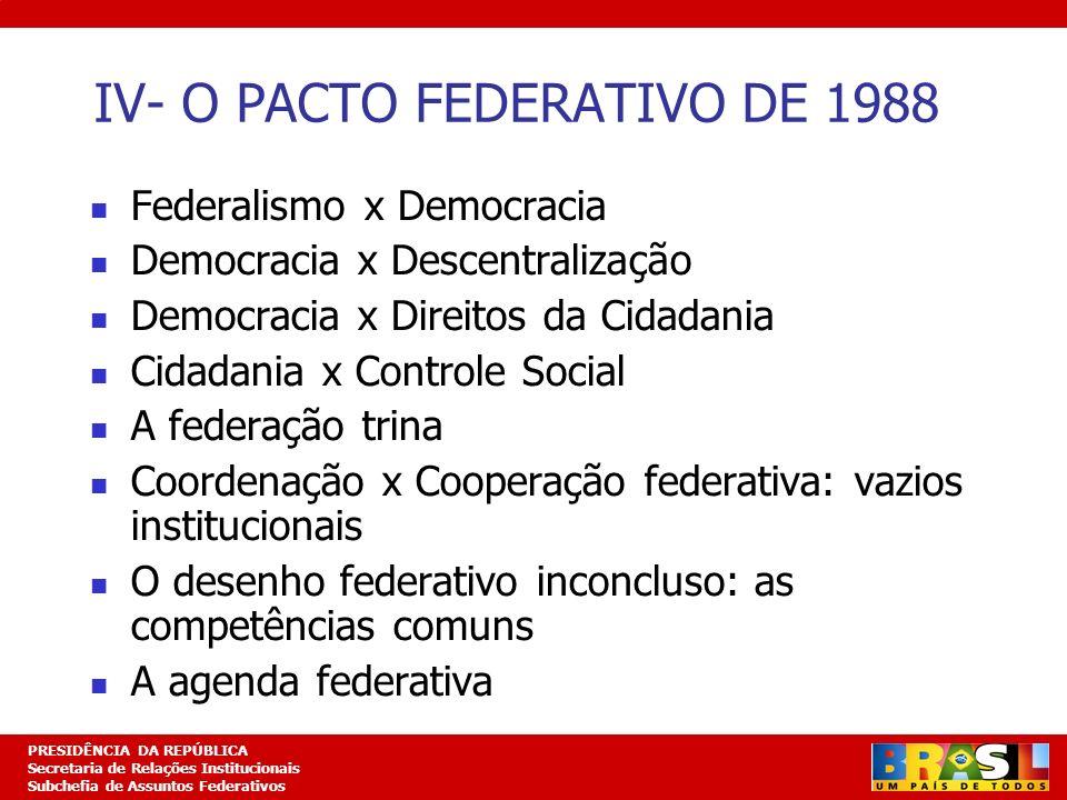 Planejamento Estratégico PRESIDÊNCIA DA REPÚBLICA Secretaria de Relações Institucionais Subchefia de Assuntos Federativos V- O GOVERNO LULA E OS DESAFIOS DA FEDERAÇÃO BRASILEIRA A busca da concertação federativa: Comitê de Pactuação Federativa- CAF Focalizando a interlocução federativa: a agenda federativa compartilhada A estratégia governamental Negociando os contenciosos federativos Políticas de ganhos (FPM, ISS, CIDE) Desenvolvimento institucional (Lei dos Consórcios Públicos, Sistemas Nacionais de Políticas Públicas)