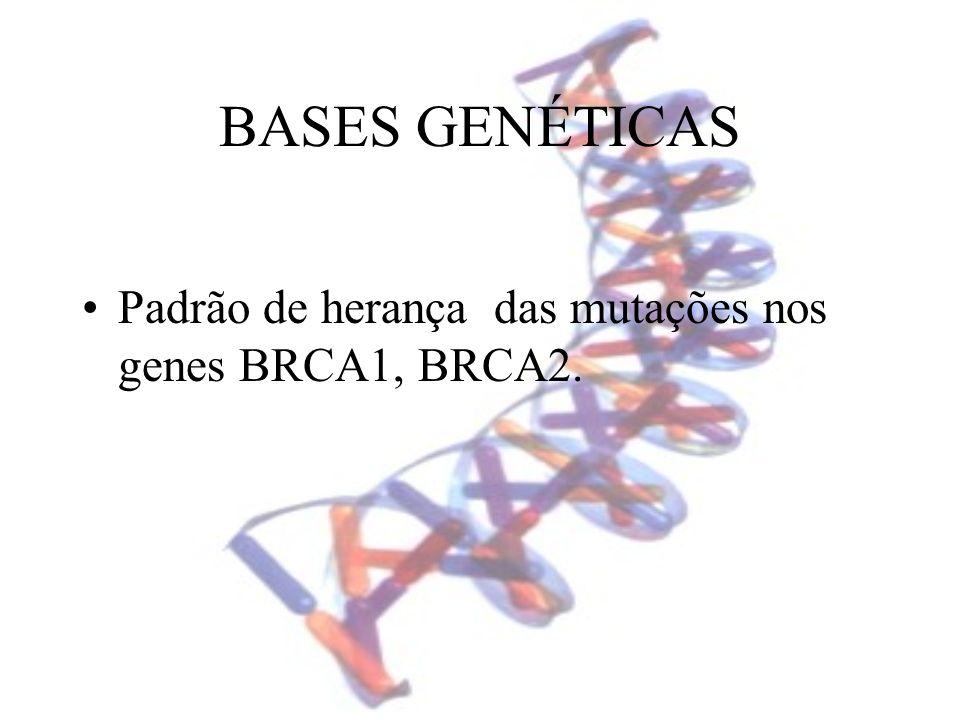 BASES GENÉTICAS Padrão de herança das mutações nos genes BRCA1, BRCA2.