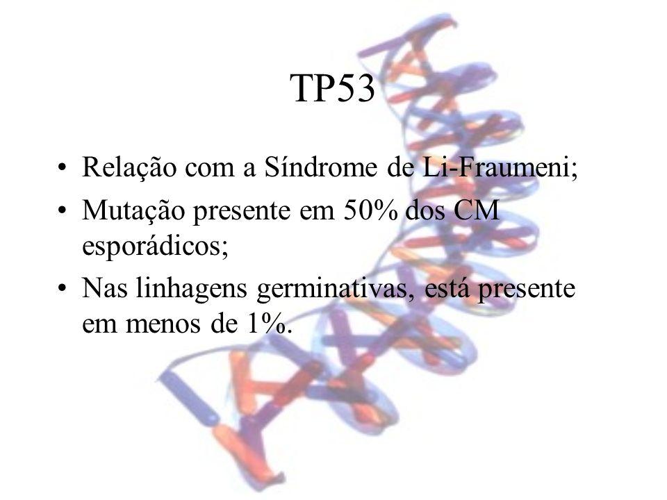 TP53 Relação com a Síndrome de Li-Fraumeni; Mutação presente em 50% dos CM esporádicos; Nas linhagens germinativas, está presente em menos de 1%.