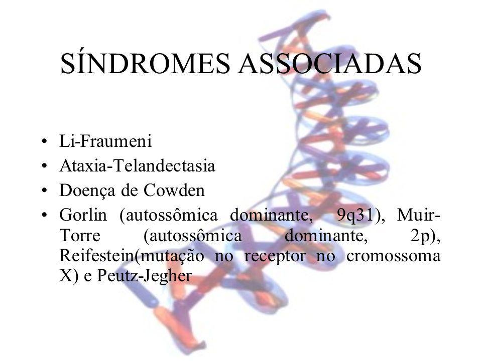 SÍNDROMES ASSOCIADAS Li-Fraumeni Ataxia-Telandectasia Doença de Cowden Gorlin (autossômica dominante, 9q31), Muir- Torre (autossômica dominante, 2p),