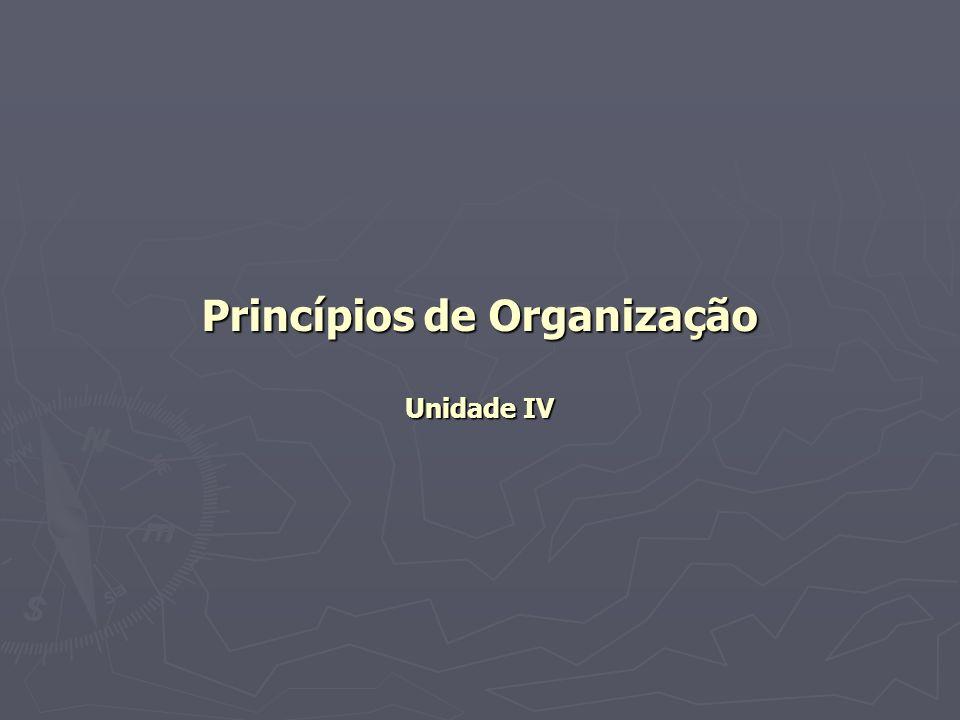 Princípios de Organização Unidade IV