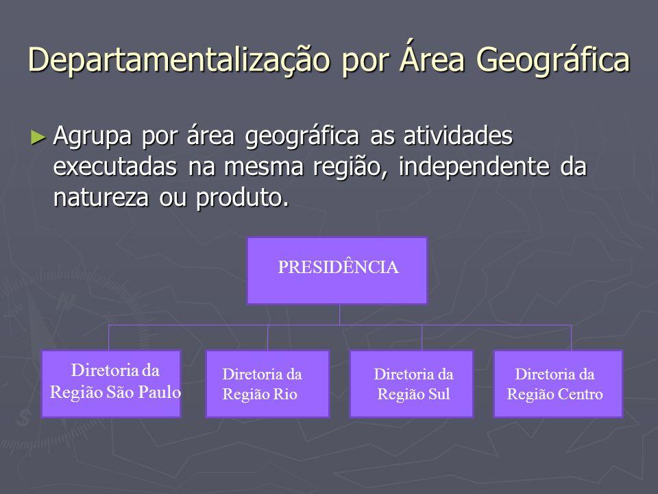 Departamentalização por Área Geográfica Agrupa por área geográfica as atividades executadas na mesma região, independente da natureza ou produto. Agru