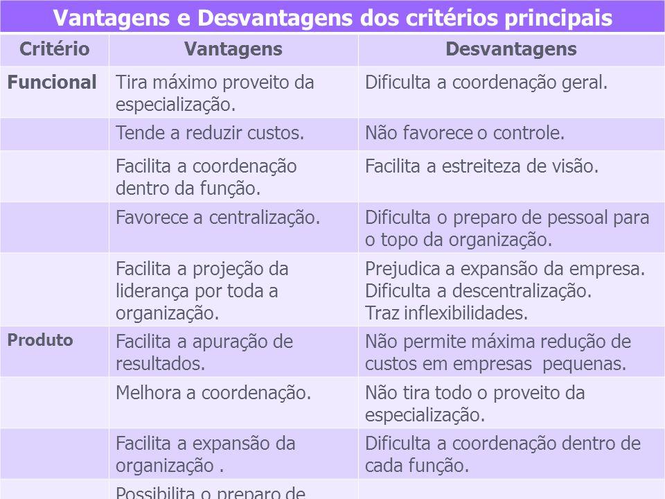 Vantagens e Desvantagens dos critérios principais CritérioVantagensDesvantagens FuncionalTira máximo proveito da especialização. Dificulta a coordenaç