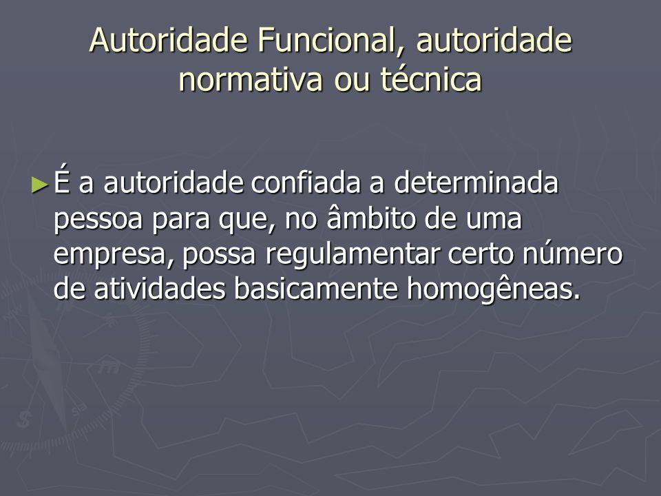 Autoridade Funcional, autoridade normativa ou técnica É a autoridade confiada a determinada pessoa para que, no âmbito de uma empresa, possa regulamen