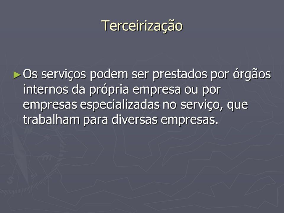 Terceirização Os serviços podem ser prestados por órgãos internos da própria empresa ou por empresas especializadas no serviço, que trabalham para div