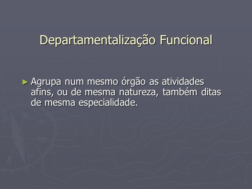 Departamentalização Funcional Agrupa num mesmo órgão as atividades afins, ou de mesma natureza, também ditas de mesma especialidade. Agrupa num mesmo