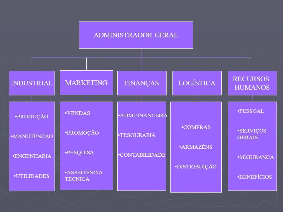 ADMINISTRADOR GERAL INDUSTRIAL MARKETING FINANÇASLOGÍSTICA RECURSOS HUMANOS PRODUÇÃO MANUTENÇÃO ENGENHARIA UTILIDADES COMPRAS ARMAZÉNS DISTRIBUIÇÃO VE