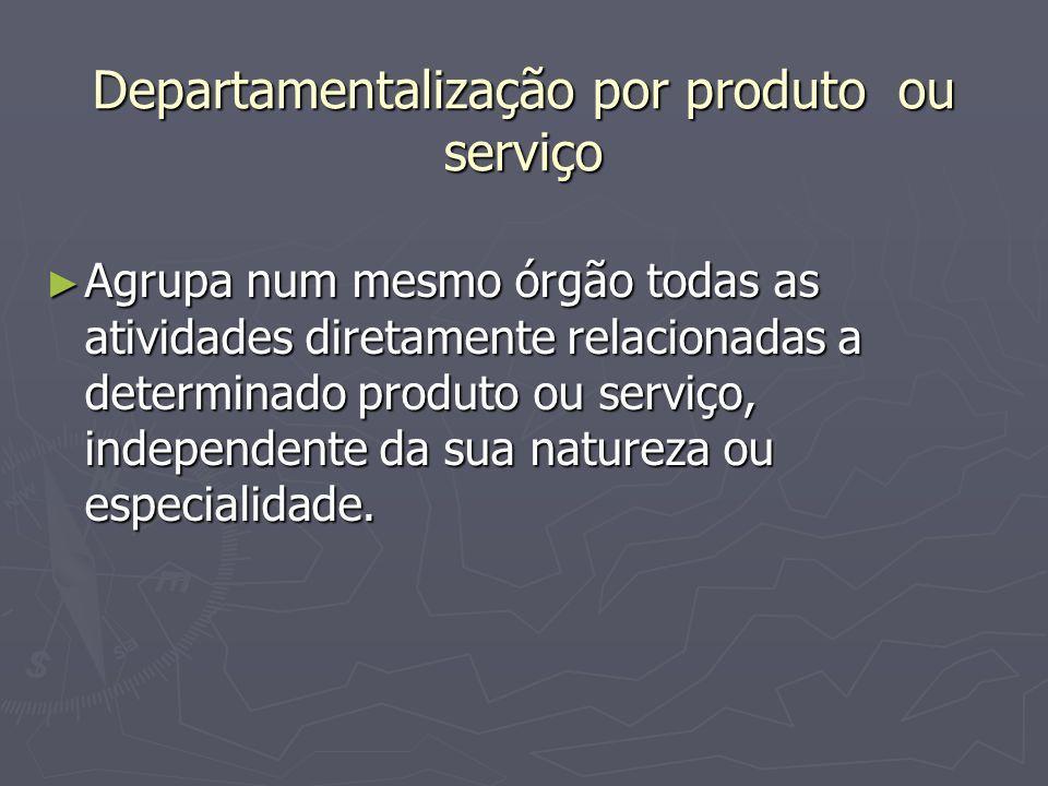 Departamentalização por produto ou serviço Agrupa num mesmo órgão todas as atividades diretamente relacionadas a determinado produto ou serviço, indep