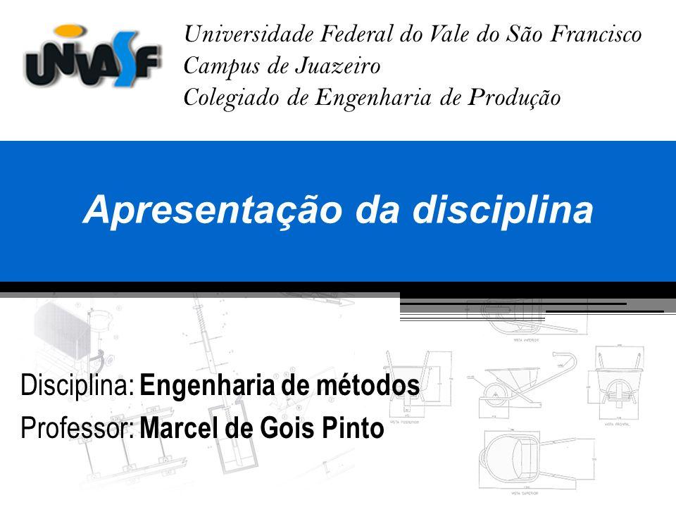 Conteúdo Conteúdo programático da disciplina Apresentação do curso Sistema de avaliação da aprendizagem Histórico da engenharia de métodos Definição da engenharia de métodos Finalidade da engenharia de métodos