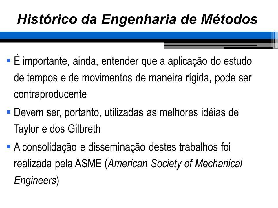 Histórico da Engenharia de Métodos É importante, ainda, entender que a aplicação do estudo de tempos e de movimentos de maneira rígida, pode ser contr