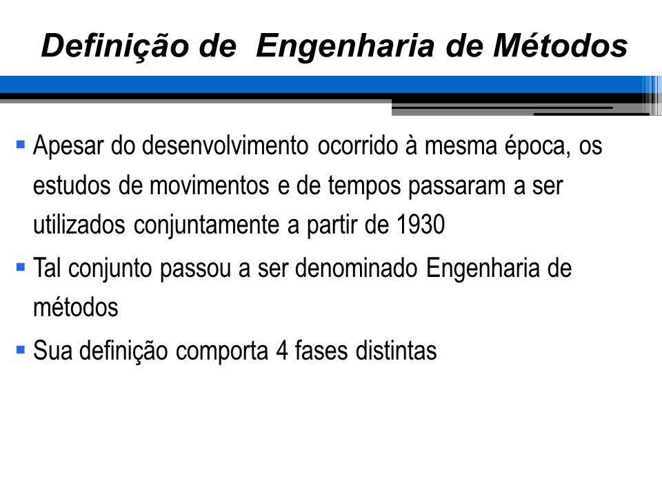 Definição de Engenharia de Métodos Apesar do desenvolvimento ocorrido à mesma época, os estudos de movimentos e de tempos passaram a ser utilizados co