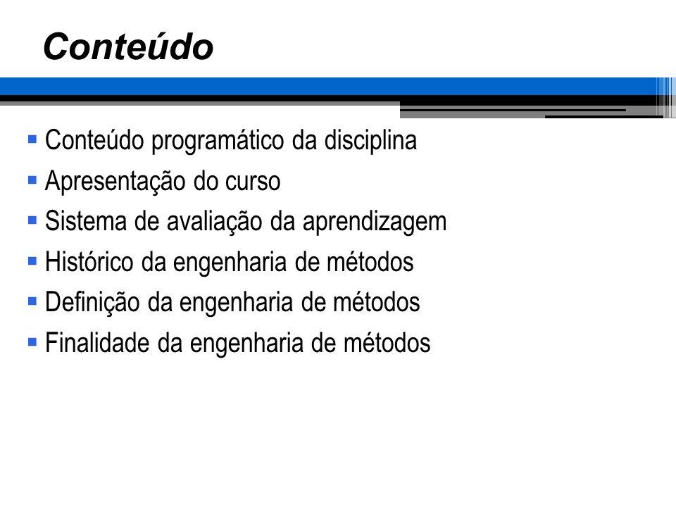 Ementa Evolução da Engenharia de métodos Metodologia de resolução de problemas Projeto de métodos de trabalho Técnicas para registro e análise do trabalho Análise das operações e estudo dos micro-movimentos Princípios de economia dos movimentos Projeto de postos de trabalho Cronometragem