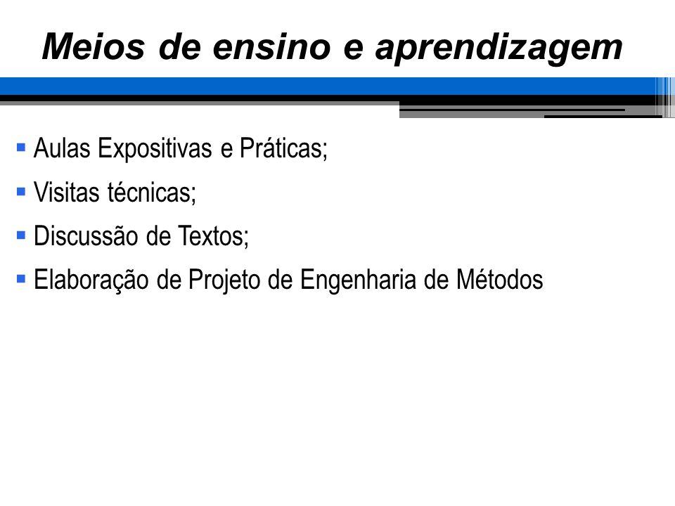 Meios de ensino e aprendizagem Aulas Expositivas e Práticas; Visitas técnicas; Discussão de Textos; Elaboração de Projeto de Engenharia de Métodos