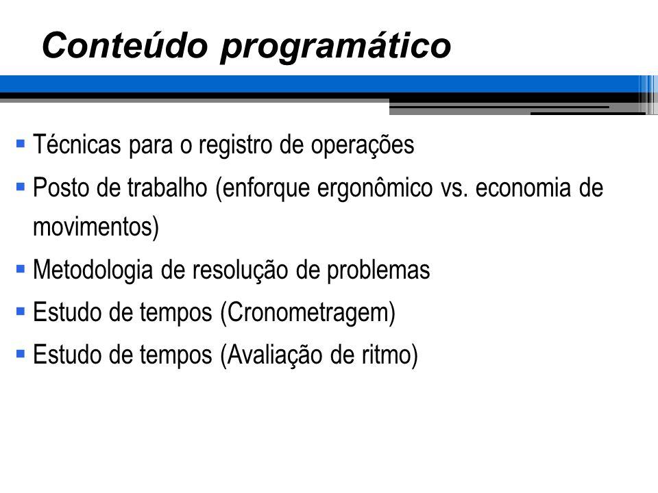 Conteúdo programático Técnicas para o registro de operações Posto de trabalho (enforque ergonômico vs. economia de movimentos) Metodologia de resoluçã