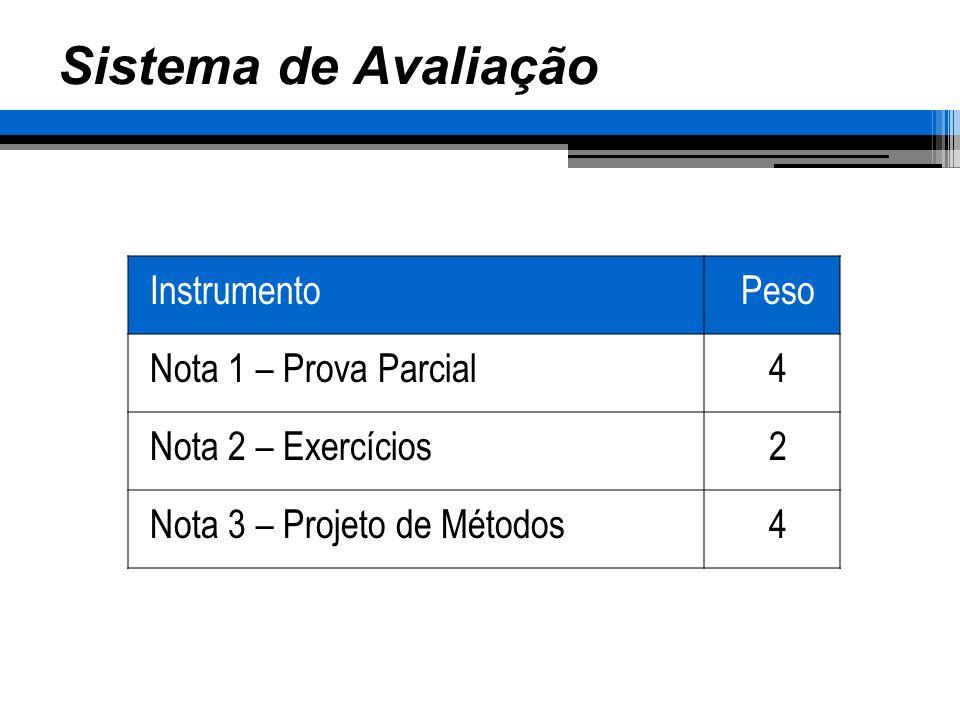 Sistema de Avaliação InstrumentoPeso Nota 1 – Prova Parcial4 Nota 2 – Exercícios2 Nota 3 – Projeto de Métodos4