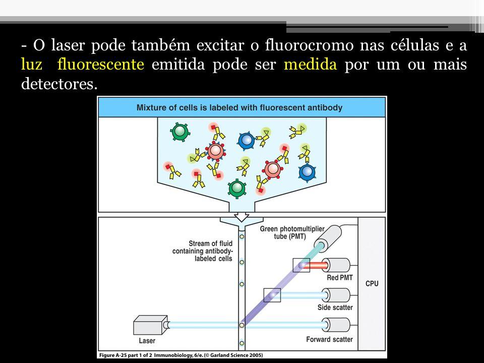 Aplicações: -Caracterização de populações celulares; - Contagem de microrganismos; - Separação de populações celulares de acordo com a densidade dos antígenos, tamanho e granulosidade das células; - Análise de proliferação celular.
