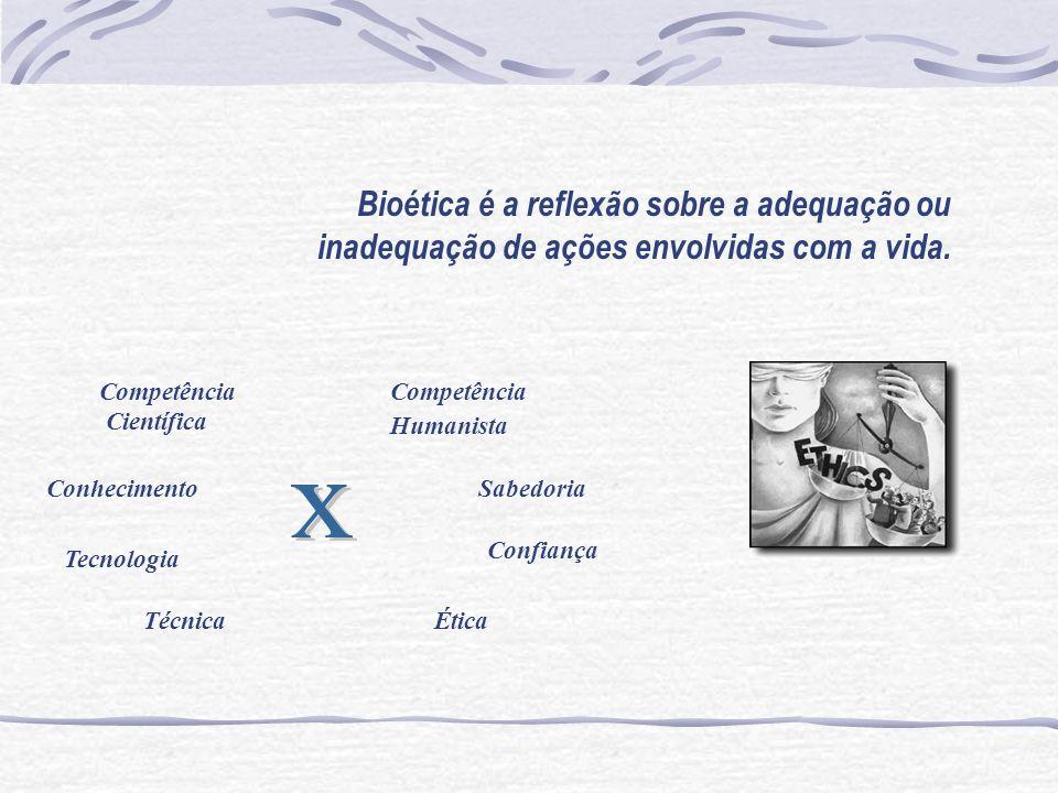 Bioética é a reflexão sobre a adequação ou inadequação de ações envolvidas com a vida. Competência Científica Conhecimento Tecnologia Técnica Competên