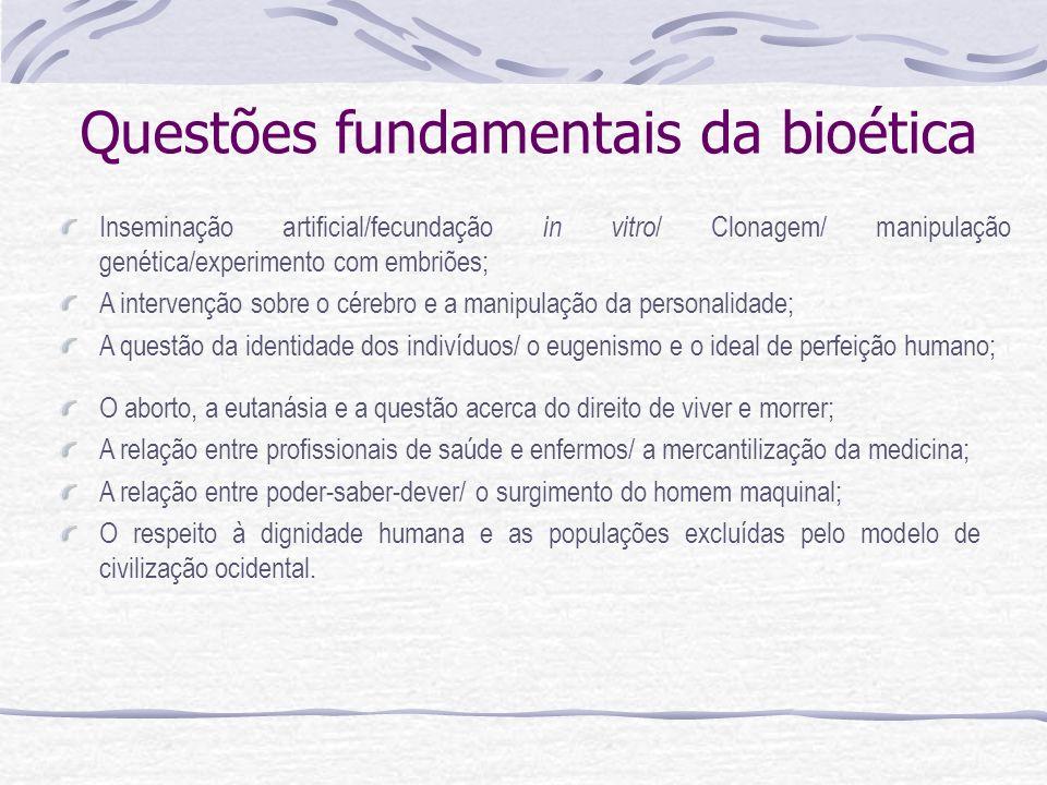 Questões fundamentais da bioética Inseminação artificial/fecundação in vitro / Clonagem/ manipulação genética/experimento com embriões; A intervenção