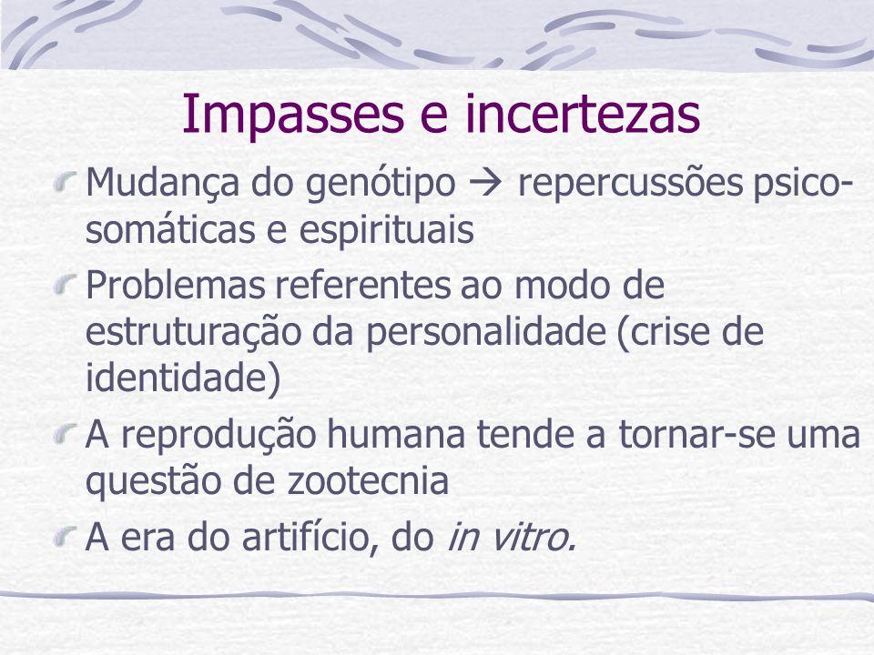 Impasses e incertezas Mudança do genótipo repercussões psico- somáticas e espirituais Problemas referentes ao modo de estruturação da personalidade (c