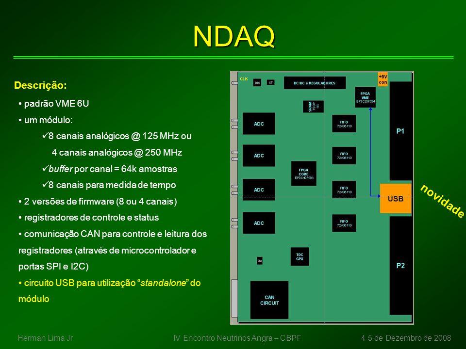 Aquisição de Dados - status SPRO firmware para ler o TDC finalizado e testado primeiros resultados de caracterização do TDC de 5,4ns a 6,3ns (passo 100ps) erro máximo = 1,52% de 10ns a 100ns (passo 10ns) erro máximo = 2,91% resolução temporal = 182ps (pior caso) resultados sugerem tendência de aumento do erro com o aumento do intervalo de tempo – a ser investigado NDAQ 11 esquemáticos finalizados - ADCs, TDC, FIFOs, power, drivers de entrada, sistema de clock, buffers VME, circuito CAN protótipo de circuito de comunicação CAN montado e funcionando (ver Rafael Gama) ADCs, TDCs e clock entregues no CBPF aguardando por buffers, memórias (FIFO e SRAM), FPGAs e osciladores (já importados) IV Encontro Neutrinos Angra – CBPF4-5 de Dezembro de 2008Herman Lima Jr