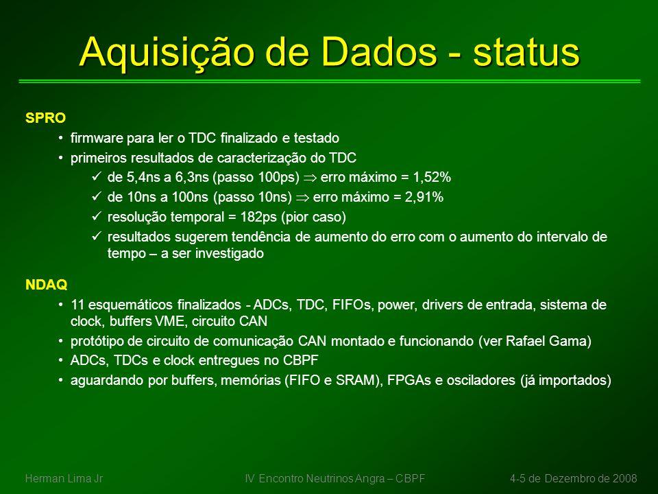 Aquisição de Dados - status Pessoal envolvido diretamente na DAQ 1.Herman Lima Jr (CBPF) 2.Luciano Manhães Filho, software (COPPE-UFRJ) 3.Erivaldo Maia, caracterização SPRO (CBPF) 4.Paulo César, software (UEFS) 5.Rafael Gama, hardware/software (CBPF) 6.Luis Fernando, software (Unicamp) Cronograma de curto prazo (otimista) Março/09: 8 canais de TDC testados no SPRO Maio/09: primeiros 3 protótipos do NDAQ prontos para teste IV Encontro Neutrinos Angra – CBPF4-5 de Dezembro de 2008Herman Lima Jr