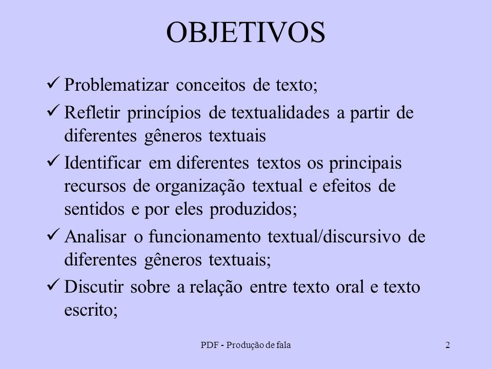 PDF - Produção de fala2 OBJETIVOS Problematizar conceitos de texto; Refletir princípios de textualidades a partir de diferentes gêneros textuais Ident