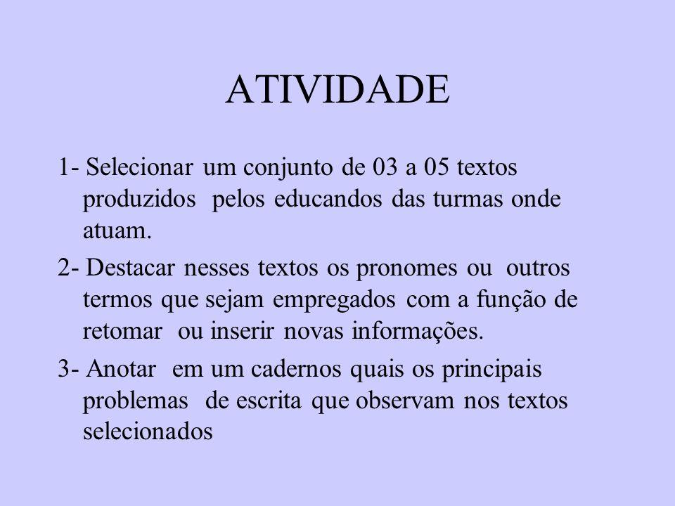 ATIVIDADE 1- Selecionar um conjunto de 03 a 05 textos produzidos pelos educandos das turmas onde atuam. 2- Destacar nesses textos os pronomes ou outro