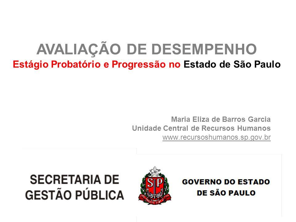 Maria Eliza de Barros Garcia Unidade Central de Recursos Humanos www.recursoshumanos.sp.gov.br AVALIAÇÃO DE DESEMPENHO Estágio Probatório e Progressão
