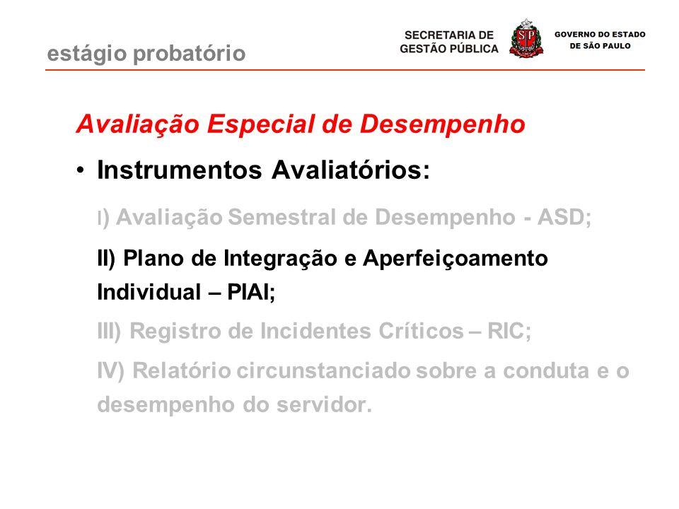Avaliação Especial de Desempenho Instrumentos Avaliatórios: I ) Avaliação Semestral de Desempenho - ASD; II) Plano de Integração e Aperfeiçoamento Ind