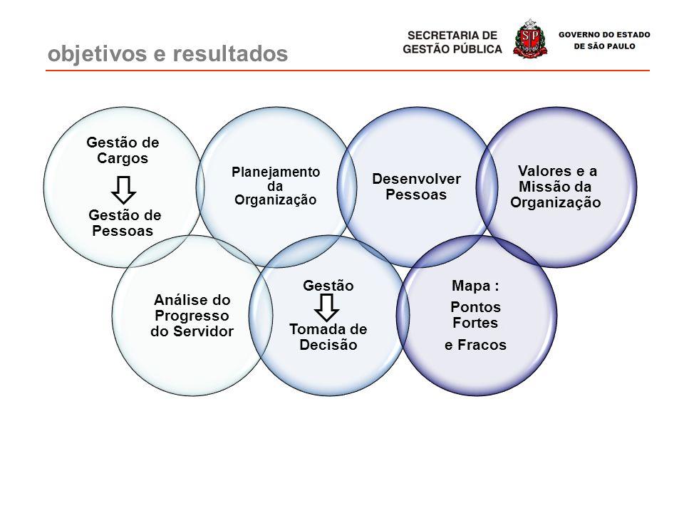 Gestão de Cargos Gestão de Pessoas Planejamento da Organização Desenvolver Pessoas Valores e a Missão da Organização Análise do Progresso do Servidor