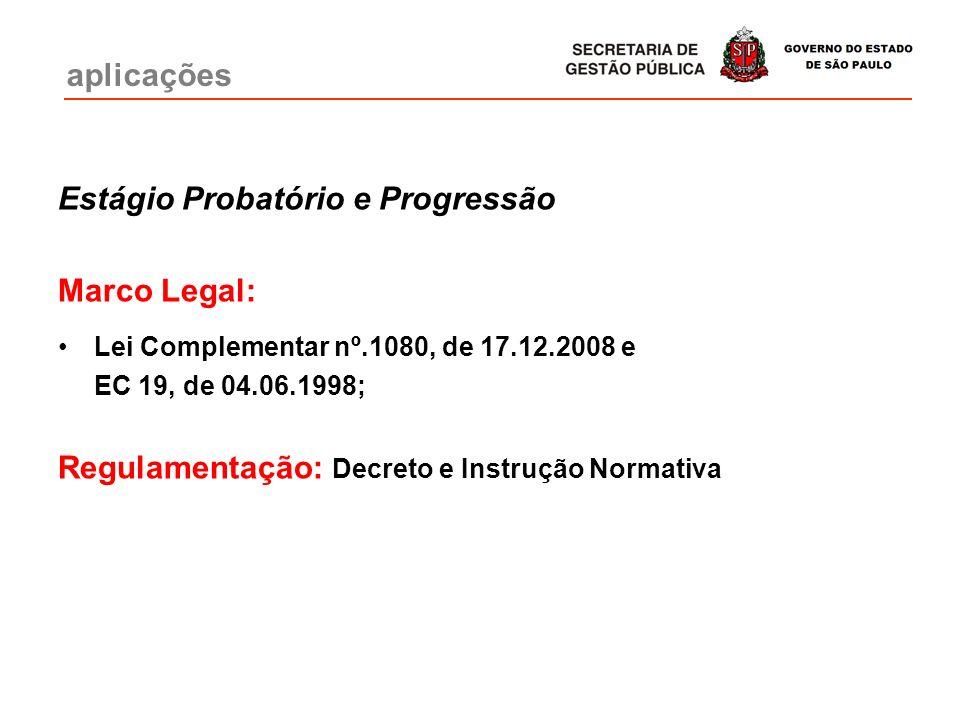 Estágio Probatório e Progressão Marco Legal: Lei Complementar nº.1080, de 17.12.2008 e EC 19, de 04.06.1998; Regulamentação: Decreto e Instrução Norma