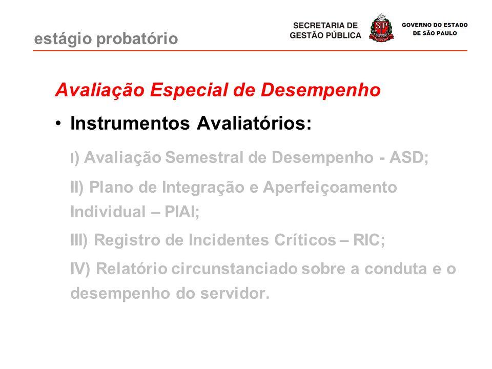 Avaliação Especial de Desempenho Instrumentos Avaliatórios: I ) Avaliação Semestral de Desempenho - ASD; II) Plano de Integração e Aperfeiçoamento Individual – PIAI; III) Registro de Incidentes Críticos – RIC; IV) Relatório circunstanciado sobre a conduta e o desempenho do servidor.