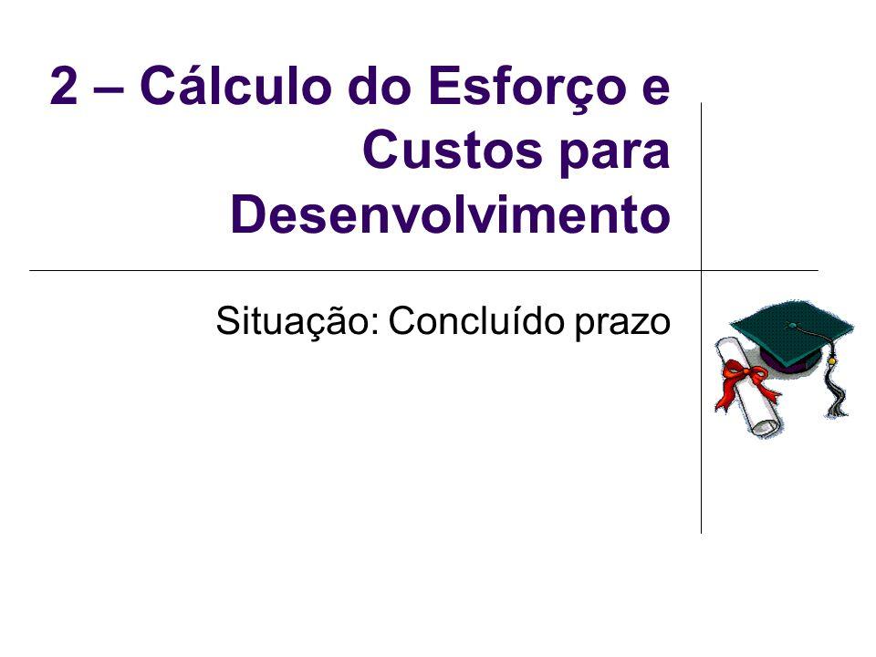 2 – Cálculo do Esforço e Custos para Desenvolvimento Situação: Concluído prazo