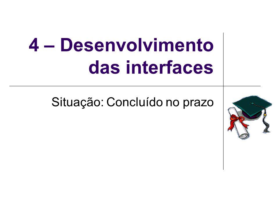 4 – Desenvolvimento das interfaces Situação: Concluído no prazo