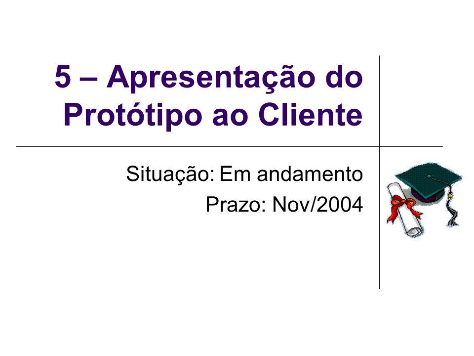 5 – Apresentação do Protótipo ao Cliente Situação: Em andamento Prazo: Nov/2004