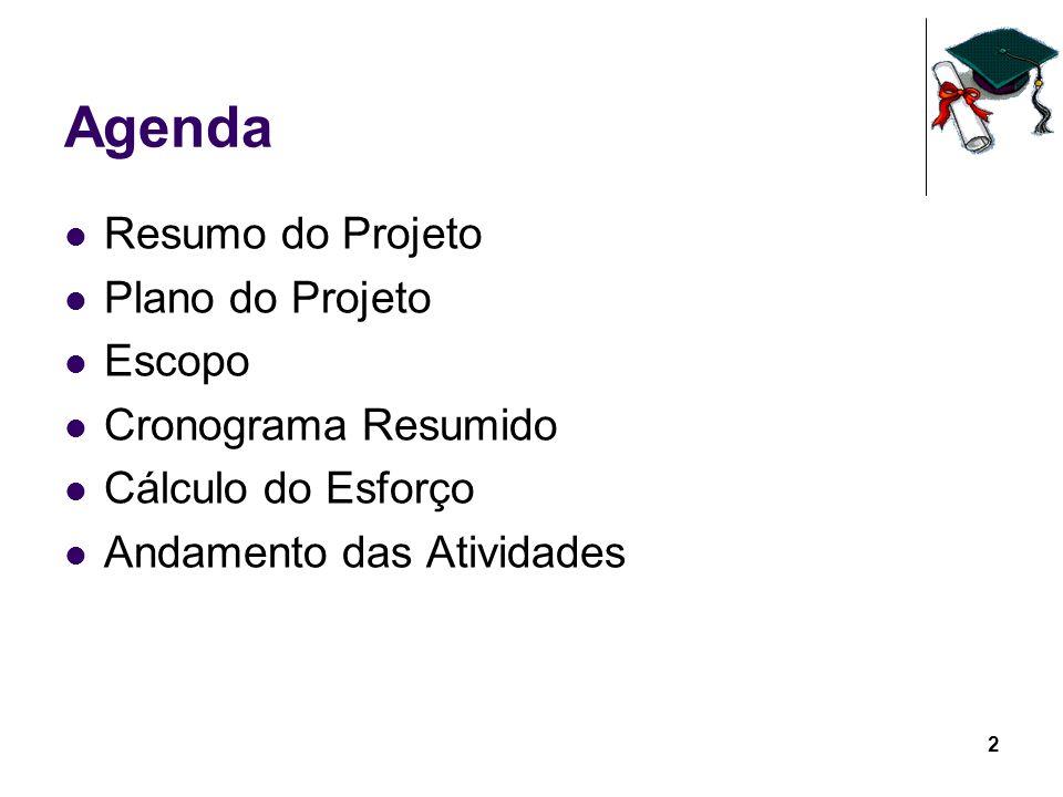 2 Agenda Resumo do Projeto Plano do Projeto Escopo Cronograma Resumido Cálculo do Esforço Andamento das Atividades