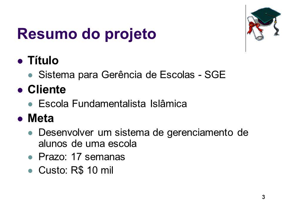 3 Resumo do projeto Título Sistema para Gerência de Escolas - SGE Cliente Escola Fundamentalista Islâmica Meta Desenvolver um sistema de gerenciamento
