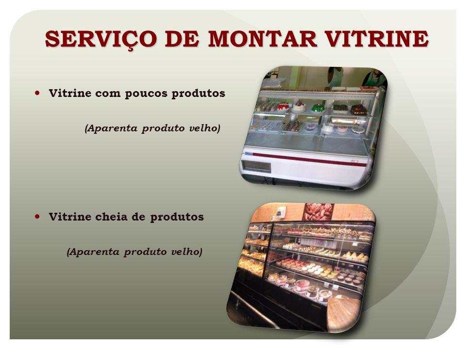 Vitrine com poucos produtos (Aparenta produto velho) Vitrine cheia de produtos (Aparenta produto velho) SERVIÇO DE MONTAR VITRINE
