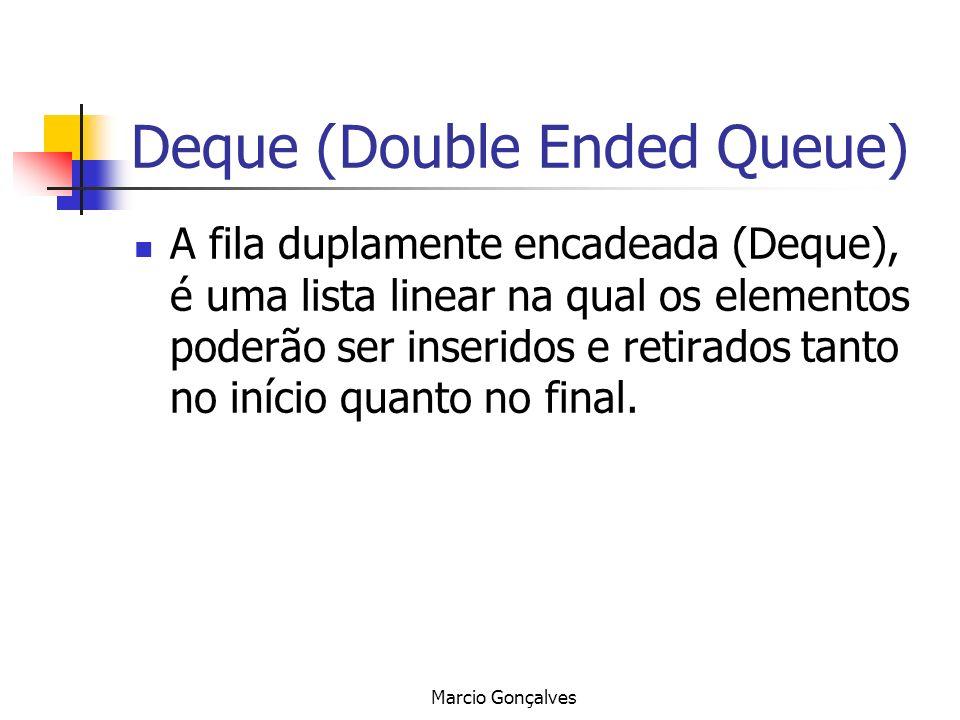 Marcio Gonçalves Deque (Double Ended Queue) A fila duplamente encadeada (Deque), é uma lista linear na qual os elementos poderão ser inseridos e retir