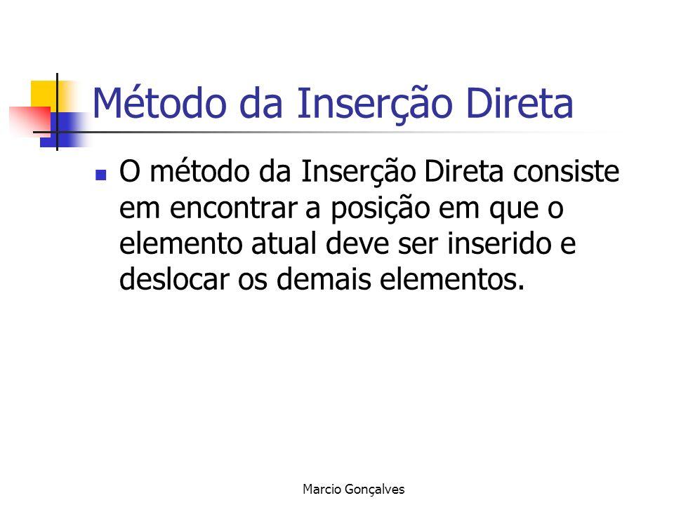 Marcio Gonçalves Método da Inserção Direta O método da Inserção Direta consiste em encontrar a posição em que o elemento atual deve ser inserido e des