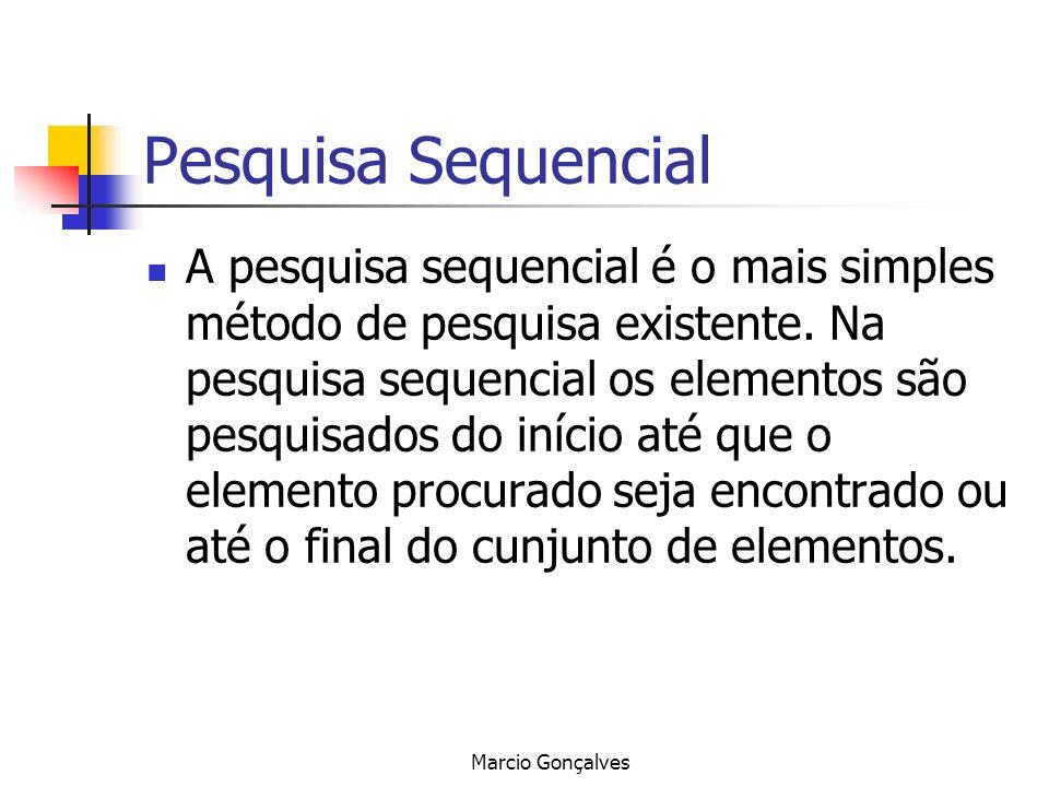 Marcio Gonçalves Pesquisa Sequencial A pesquisa sequencial é o mais simples método de pesquisa existente. Na pesquisa sequencial os elementos são pesq