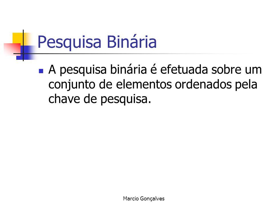 Marcio Gonçalves Pesquisa Binária A pesquisa binária é efetuada sobre um conjunto de elementos ordenados pela chave de pesquisa.