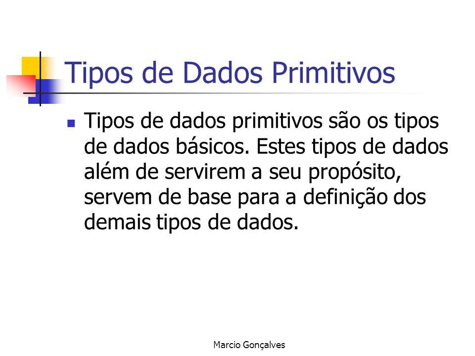 Marcio Gonçalves Tipos de Dados Primitivos Tipos de dados primitivos são os tipos de dados básicos. Estes tipos de dados além de servirem a seu propós